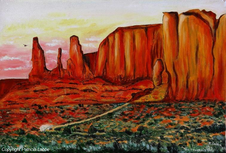 The Three Sisters Monument Valley - Huile sur toile - Format 55x38 cm