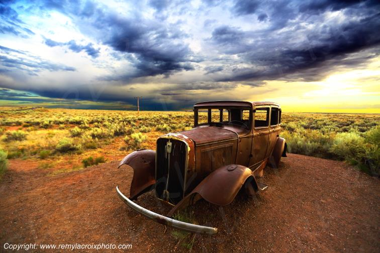 Old wreck Route 66 Studebaker 1932 Petrified Forest National Park Arizona USA