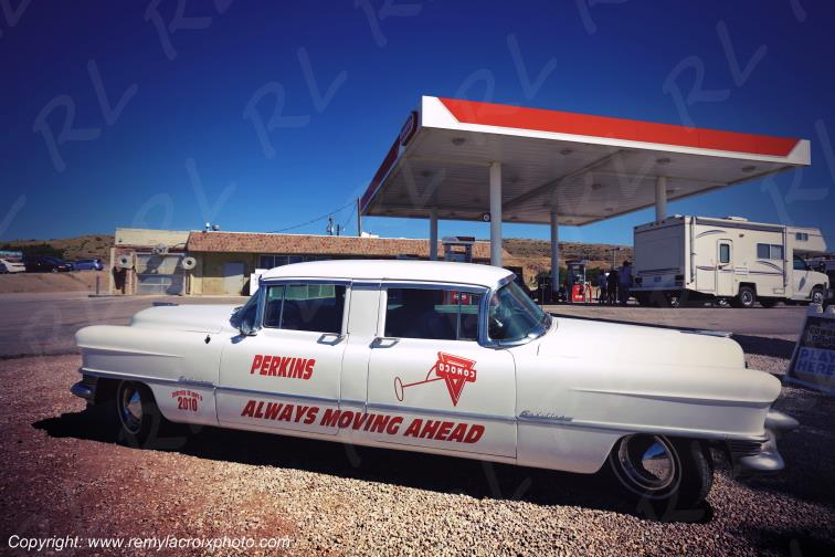 Cadillac 1955 Two Way Conoco Gas Station Rawlins Wyoming USA