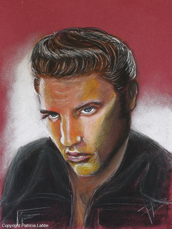 The King, Elvis Presley - Dessin crayons couleur 24x32cm