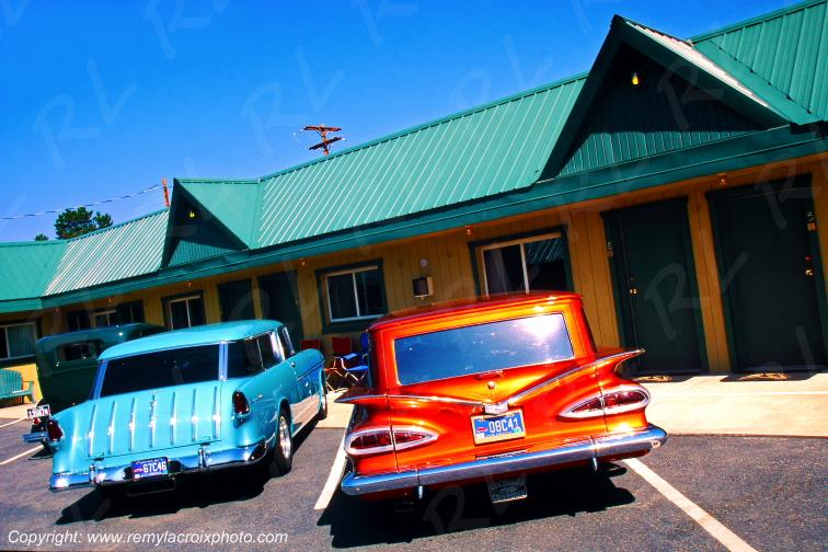 Fifties cars Motel West Yellowstone Montana USA