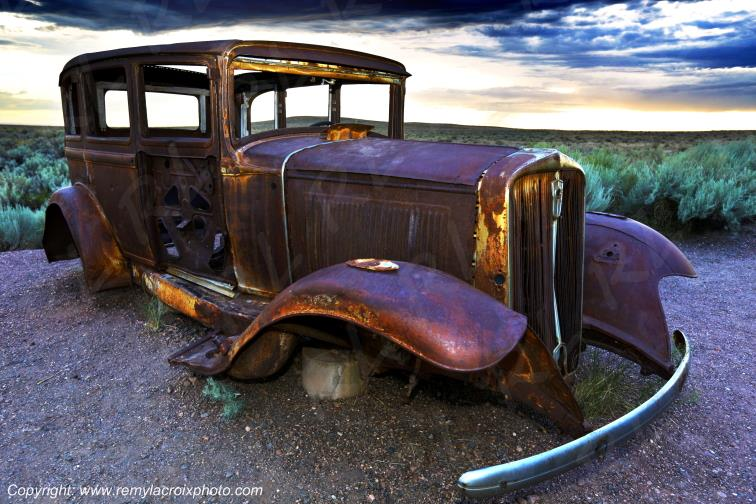 Studebaker 1932 wreck Route 66 Petrified Forest National Park Arizona USA