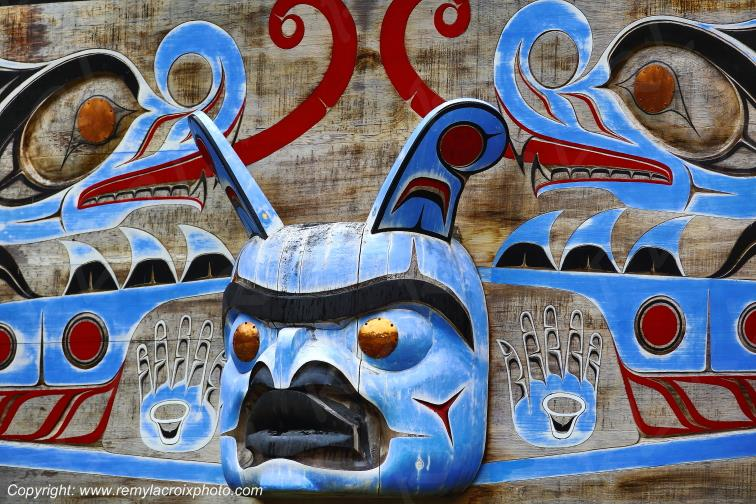Décor sculpté indien,Bella Coola,British Columbia,Canada