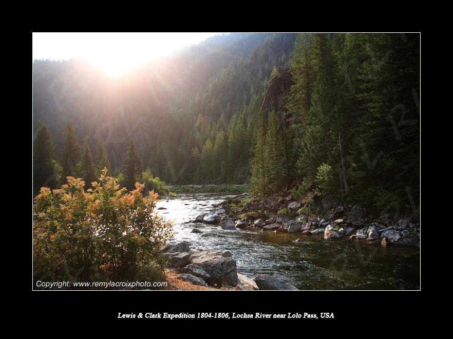 Lewis & Clark Expedition 1804-1806 Lochsa River near Lolo Pass Idaho USA