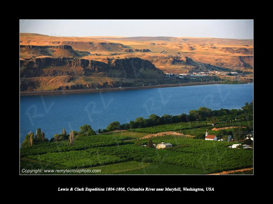 Lewis & Clark Expedition 1804-1806 Columbia River near Maryhill Washington USA