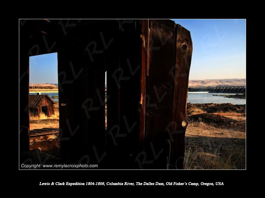 Lewis & Clark Expedition 1804-1806 Columbia River The Dalles Dam Old Fisher's Camp Oregon USA