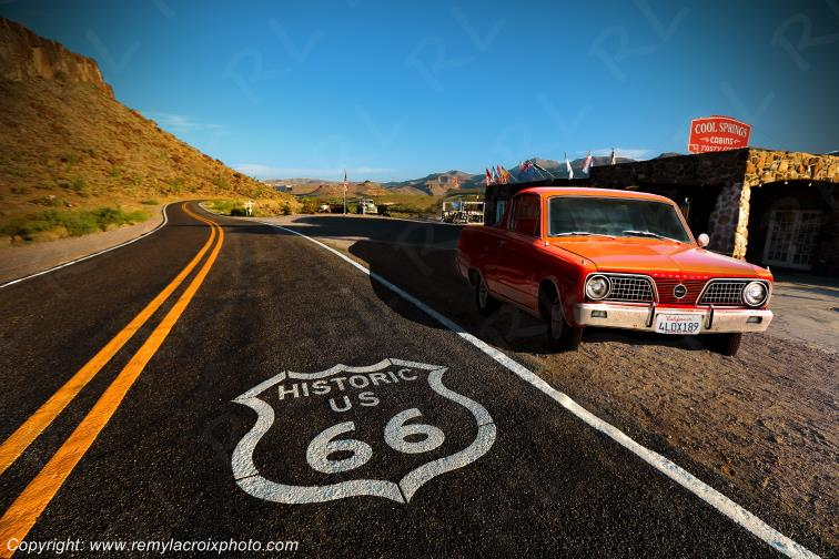 Cool Springs Cabin,Plymouth Barracuda 66,Route 66,Arizona,USA