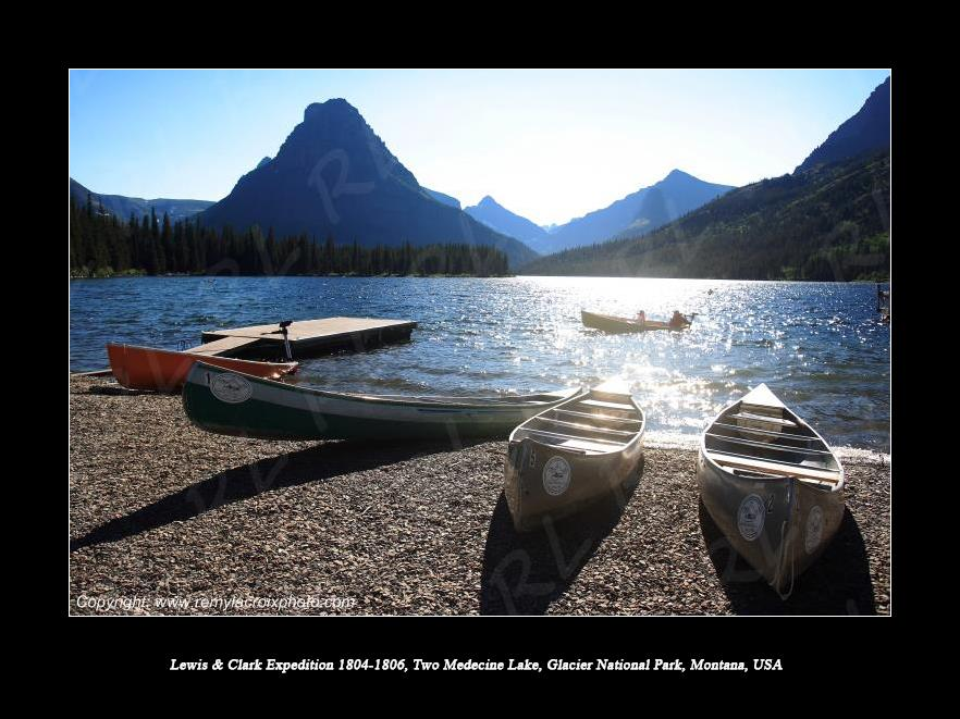 Lewis & Clark Expedition 1804-1806 Two Medecine Lake Glacier National Park Montana USA