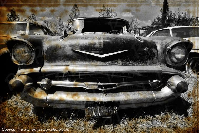 Chevrolet Bel Air 1957 wreck Big Bend Country Texas USA
