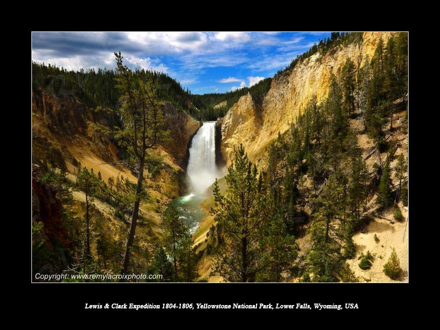Lewis & Clark Expedition 1804-1806 Lower Falls Yellowstone Canyon Wyoming USA