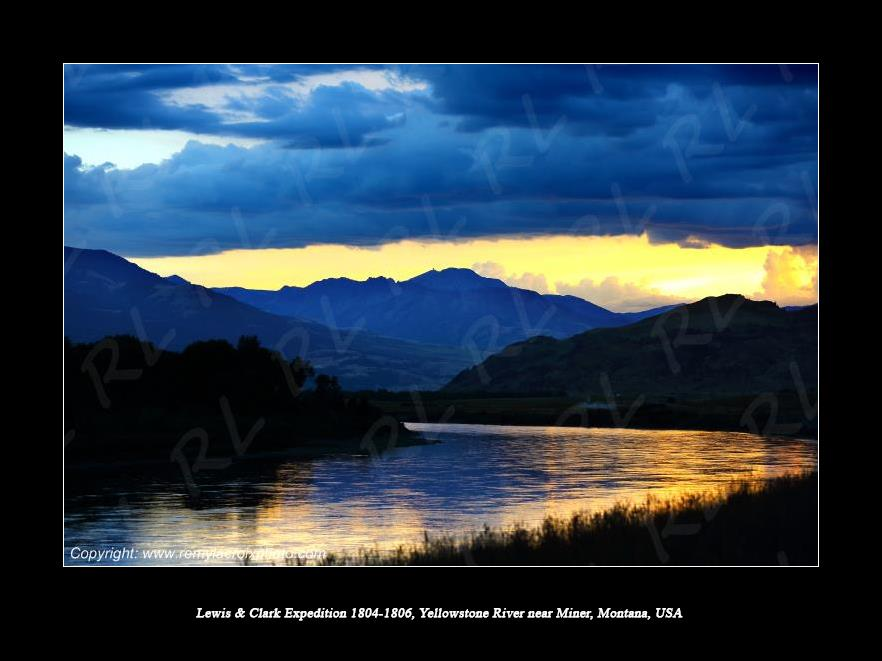 Lewis & Clark Expedition 1804-1806 Rocky Mountains Yellowstone River near Miner Montana USA