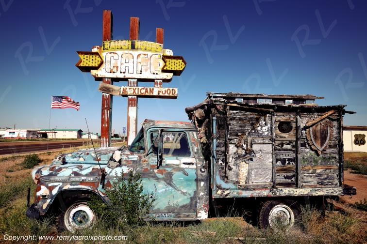 Ranch House Cafe,Old Camper Van,Route 66,Tucumcari,New-Mexico,USA