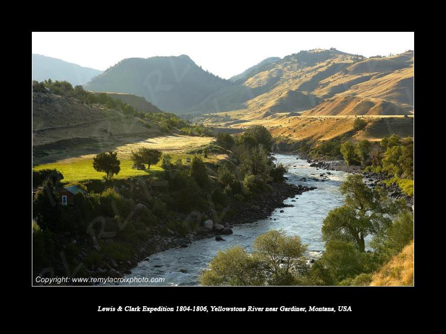 Lewis & Clark Expedition 1804-1806 Rocky Mountains Yellowstone River near Gardiner Montana USA